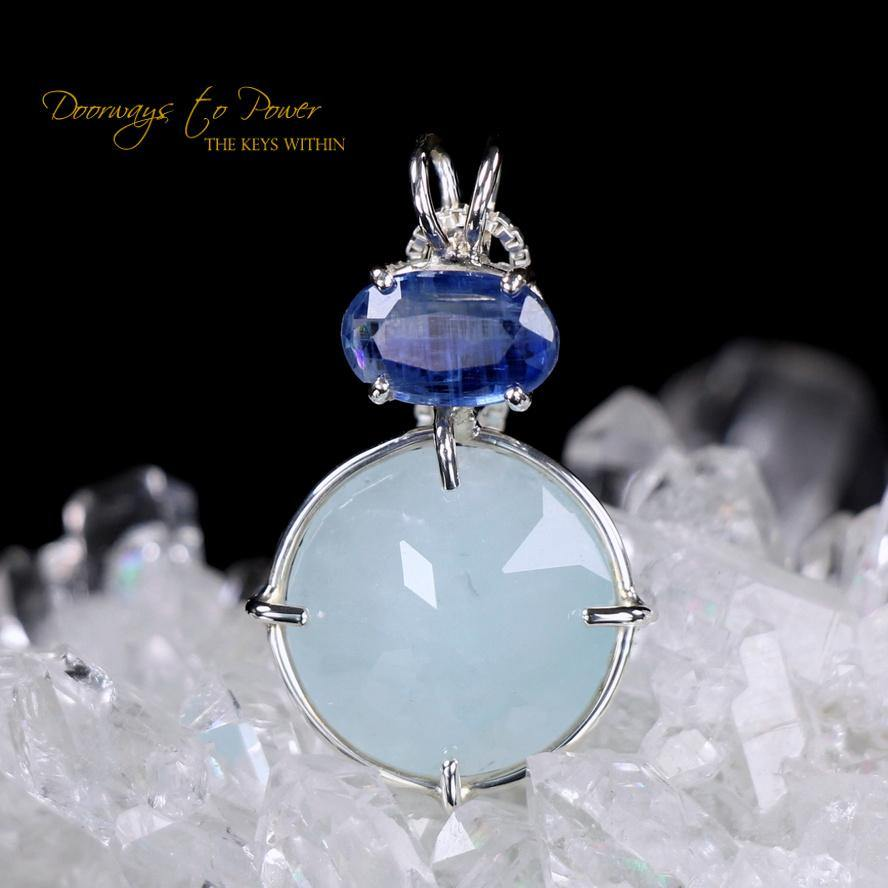 Aquamarine Kyanite Radiant Heart Pendant