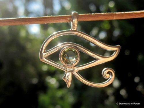 Moldavite Eye of Horus Pendant