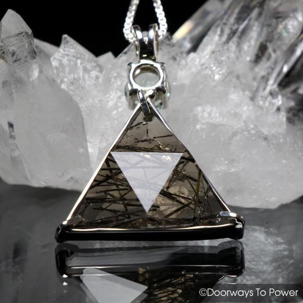 Tourmalinated Quartz & Green Obsidian Star of David Vogel Crystal Pendant