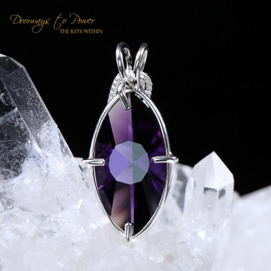 Siberian Purple Quartz Infinite Eye of Horus Pendant