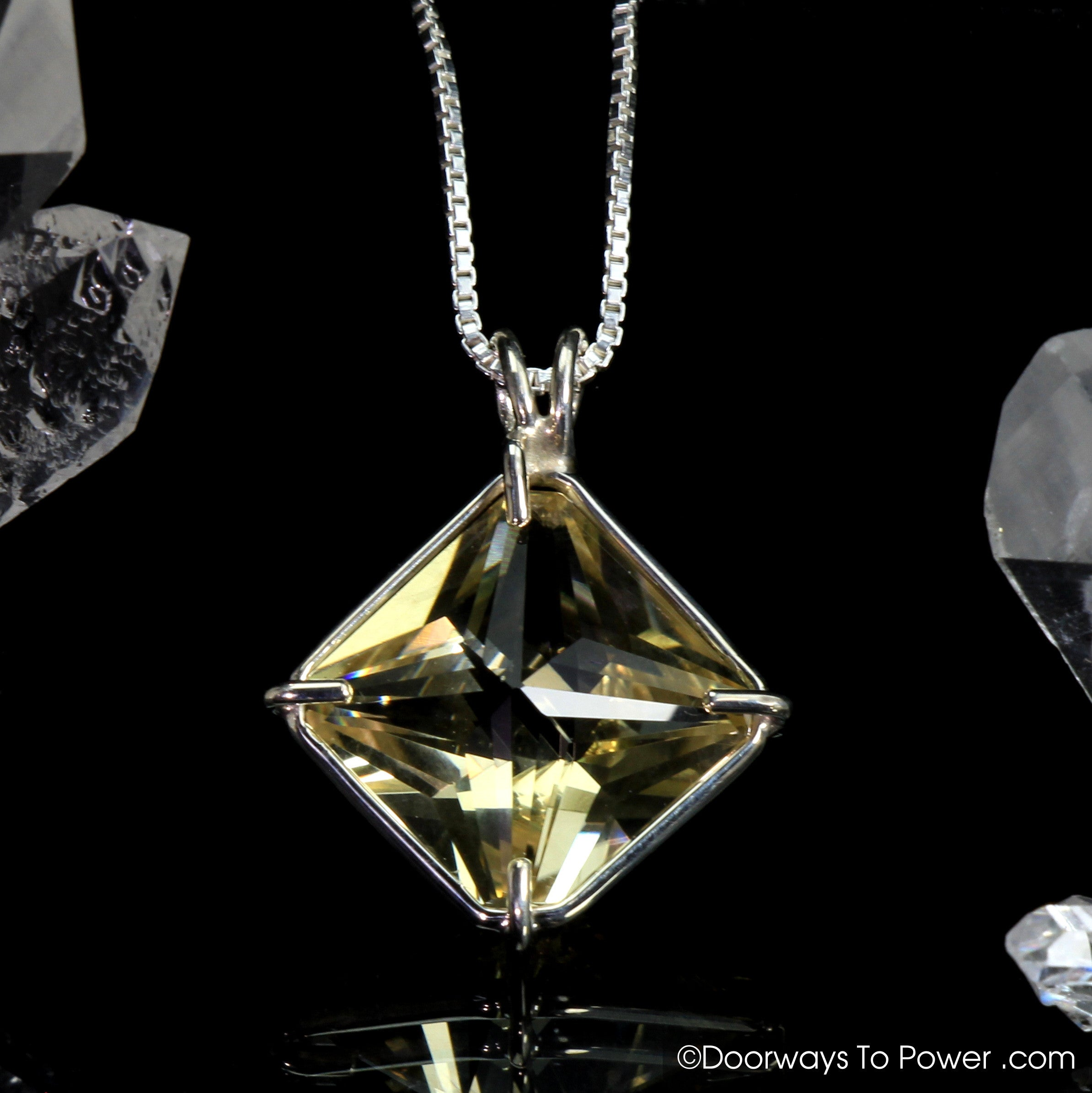 triangle substantial group atlantean quartz power pin in equilateral pendant