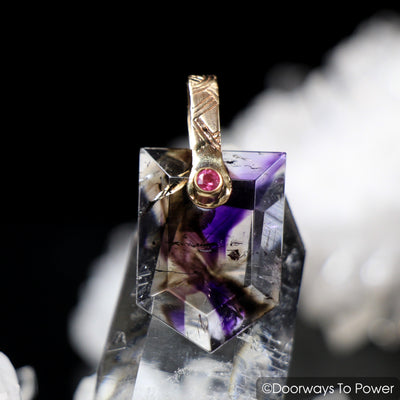 Melody Stone Super 7 & Pink Sapphire Pendant 14k Gold