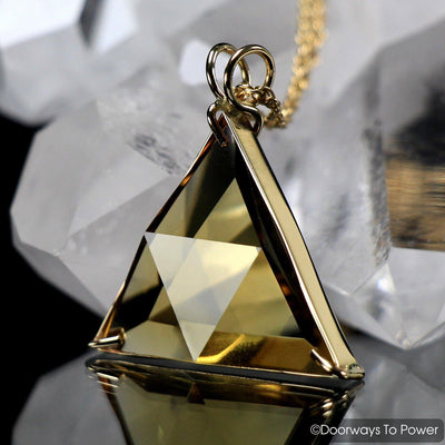 John of God Blessed Citrine Star of David Vogel Crystal Triangle Pendant 14k