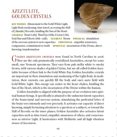 Golden Azeztulite Metaphysical Properties Book of Stones