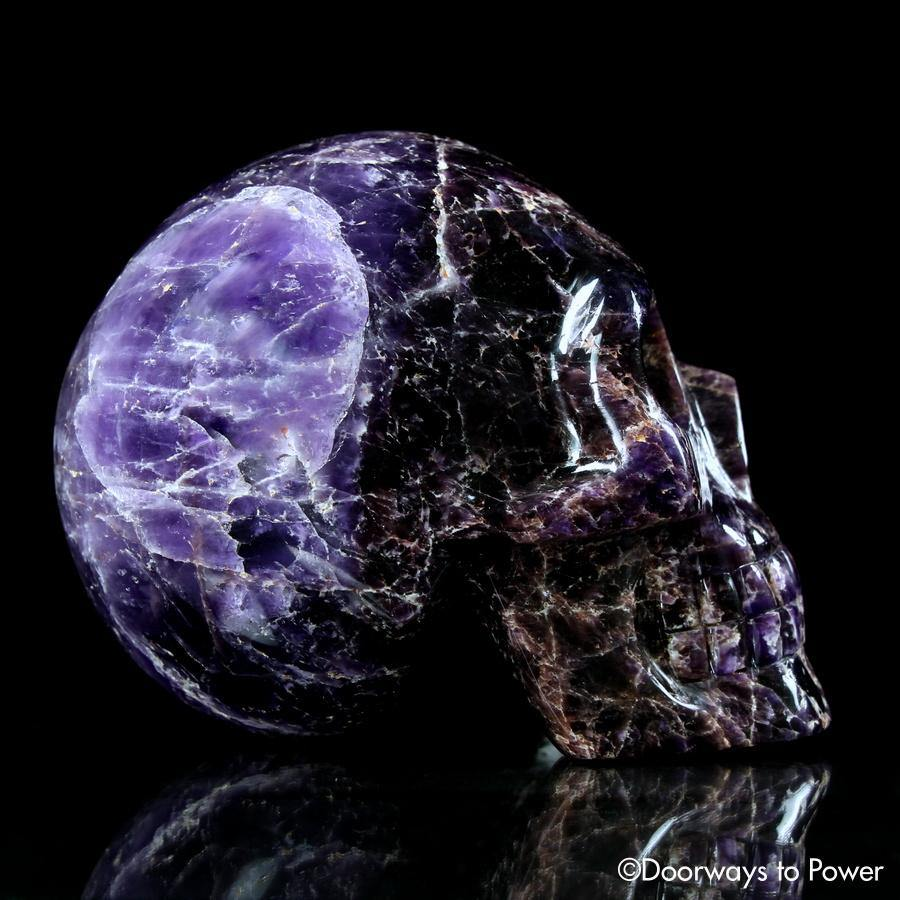 Magenta Chevron Amethyst Crystal Skull 'Mouth of God'