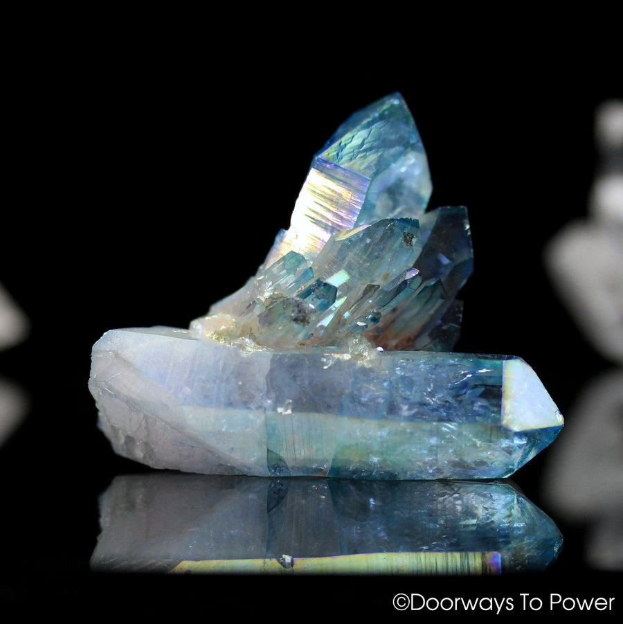Aqua Aura Quartz Crystal Cluster Tantra Twin Record Keeper