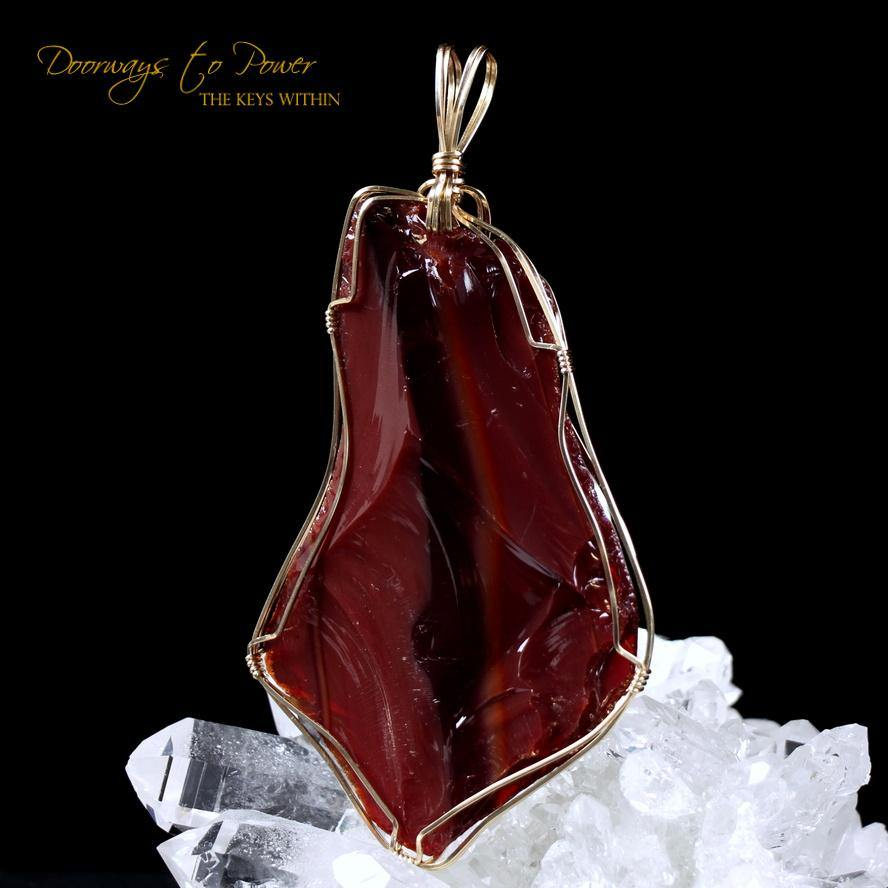 Dragons Blood Andara Crystal Pendant 14k Gold