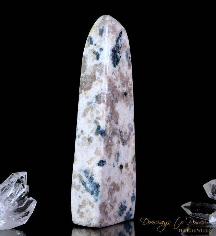 Blue Snowball Euphoralite Crystal Tower Blue Tourmaline in Quartz