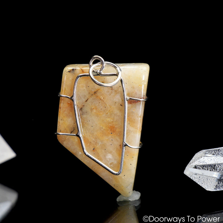 Honey & Creme Azeztulite Crystal Pendant | Azozeo Activated
