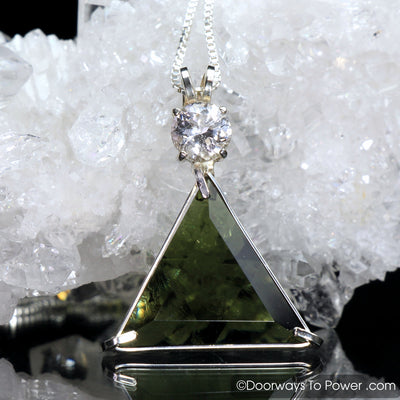 Moldavite & Danburite Star of David Triangle Pendant (RARE)