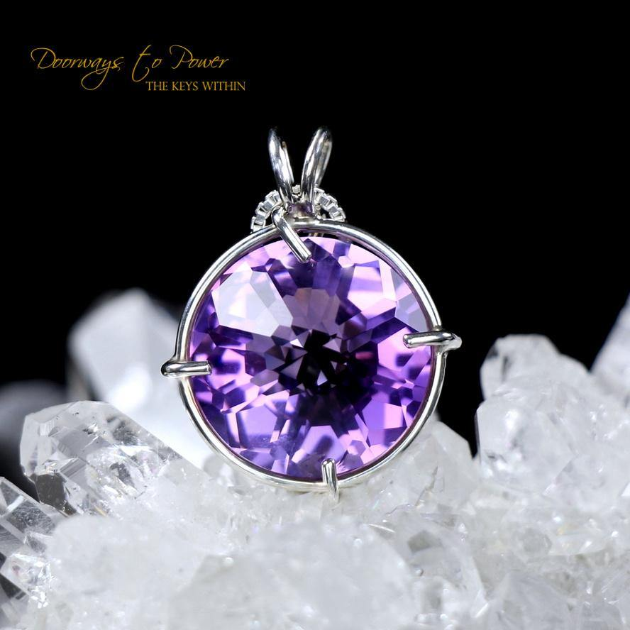 Siberian Purple Quartz Radiant Heart Pendant
