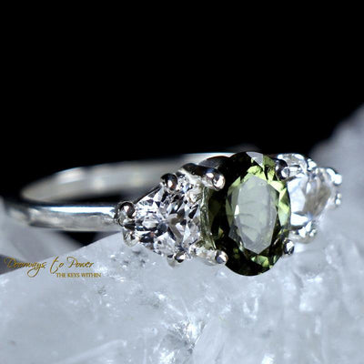 Moldavite Faceted Ring with Danburite