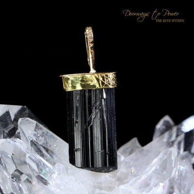 Black Tourmaline 14k Gold Pendant