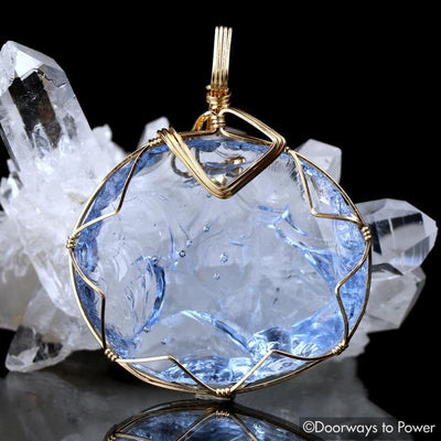 Lady Nellie Blue Andara Crystal Pendant 14k 'Blue Flame'