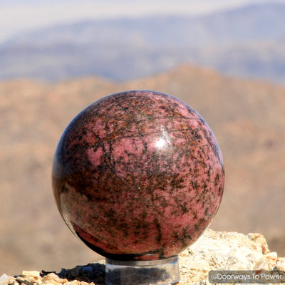 Rhodonite Crystal Gemstone Sphere