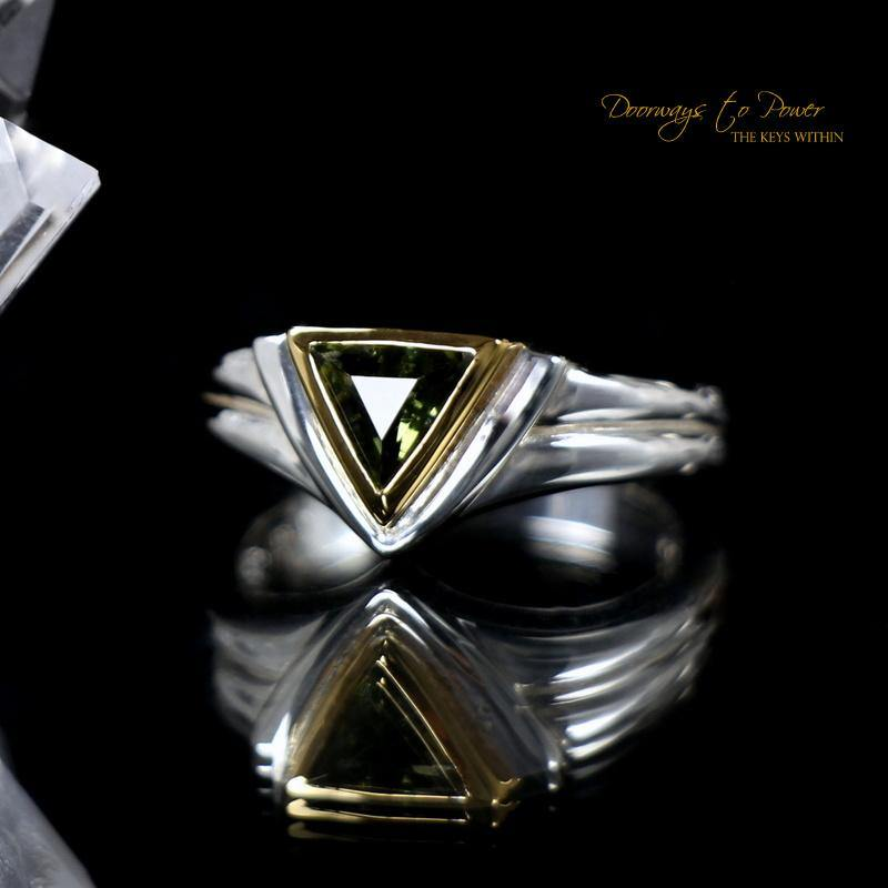 Moldavite Star Lineage Ring in 14k Gold Silver Combo