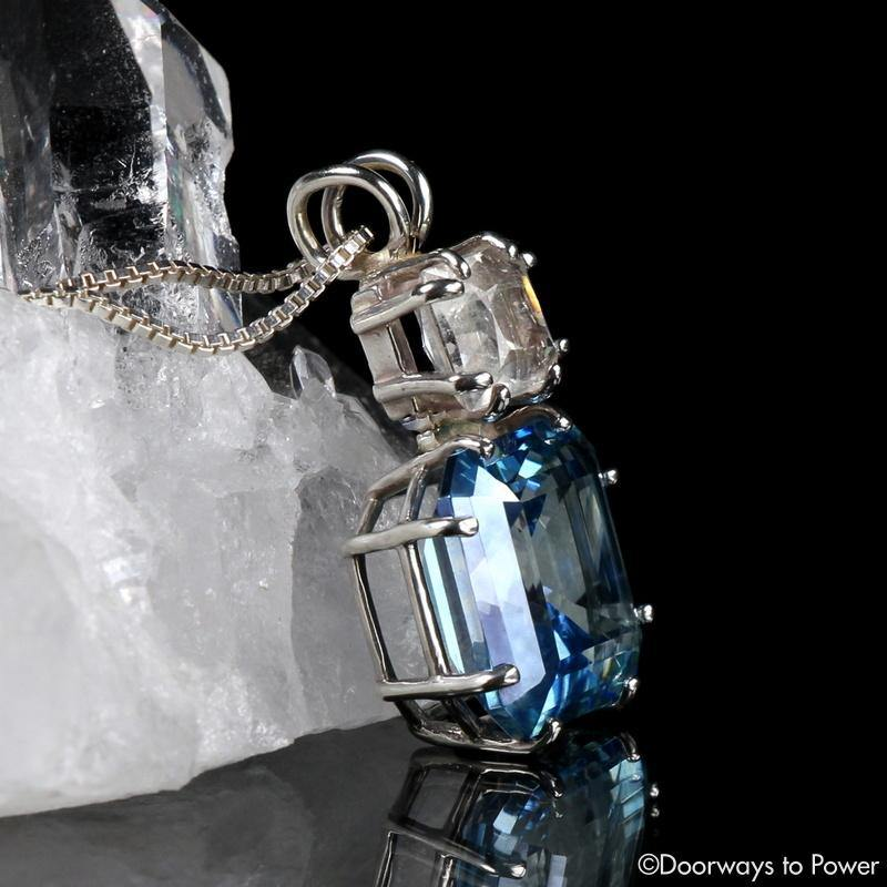 Aqua Aura Quartz & Phenacite Earth Heart Crystal Pendant