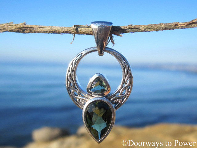 Beautiful Double Moldavite Celtic Angel Pendant