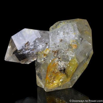 "Rare 2.43"" Golden Citrine Herkimer Diamond Record Keeper Tantric Twin Crystal"