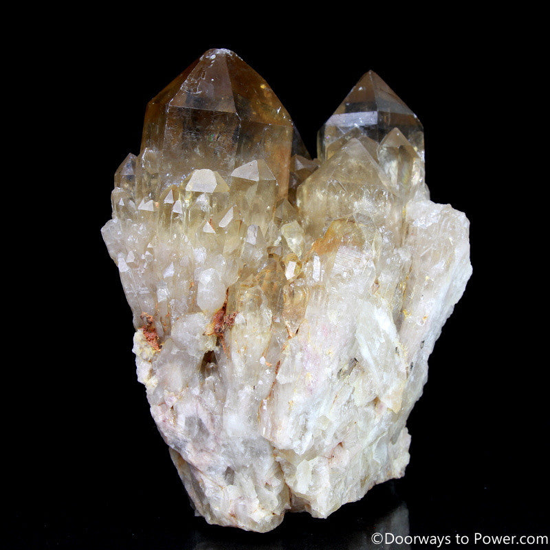 "Rare 4"" Natural Citrine Lightbrary Record keeper Kundalini Quartz Crystal Cluster"