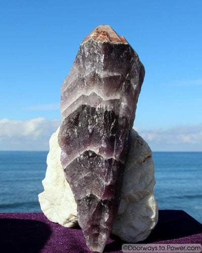 "Big 10"" Auralite 23 Crystal Wand Azozeo Activated w/ Red Tip  2.5 lbs"