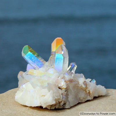 Beautiful Angel Aura Twin Crystal Cluster w/ Future & Past Time Links