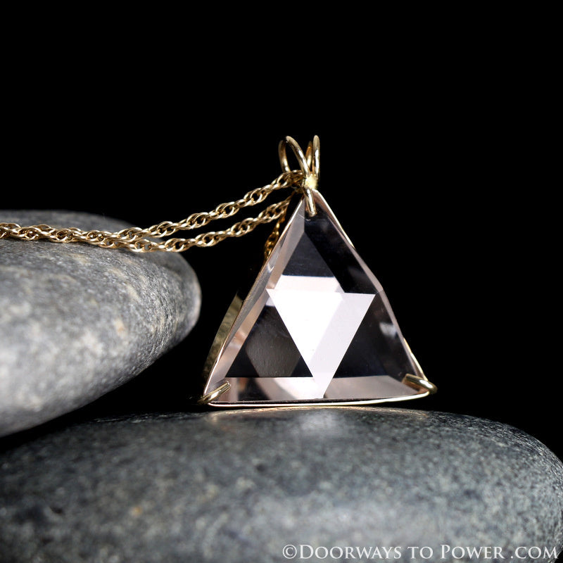 Clear Quartz Star of David Triangle Pendant 14k Gold Blessed & Energized