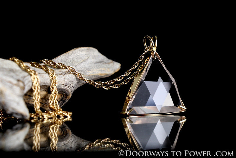 John of God Blessed Star of David Triangle Pendant 14k Gold