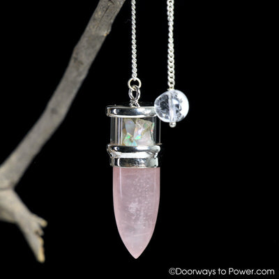 Rose Quartz & Opal pendulum .925 SS A ++ Top Quality