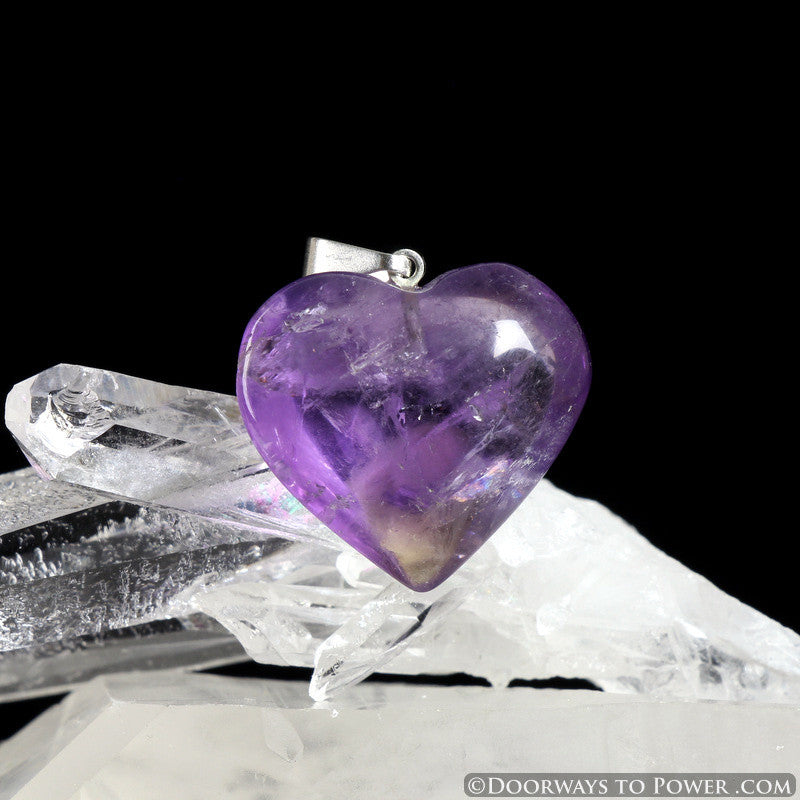 John of God Blessed and Energized Amethyst Quartz Crystal Heart Pendant JHP-3