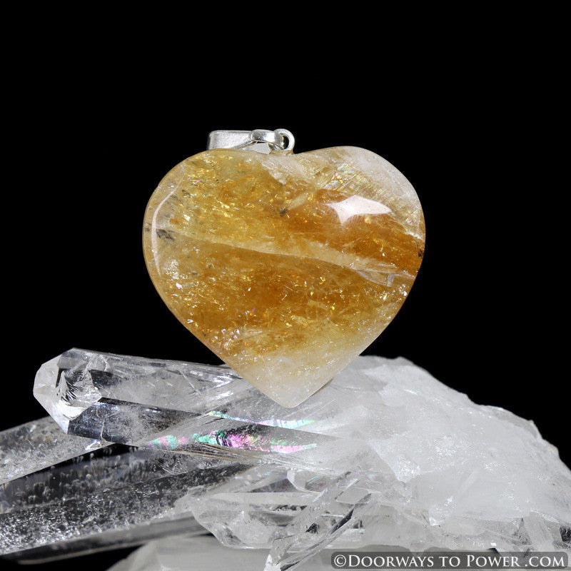 John of God Citrine Crystal Heart Pendant Blessed and Energized