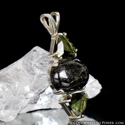 "Nuummite Moldavite Gemstone Pendant ""Powerful & Peerless"""