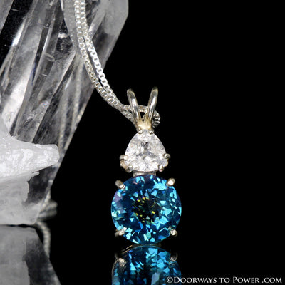 Aqua Aura & Danburite Mini Radiant Heart Pendant