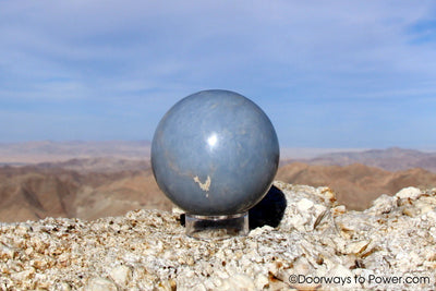 "2.55"" ANGELITE Crystal Sphere Peru ""Spirit intelligence's"""