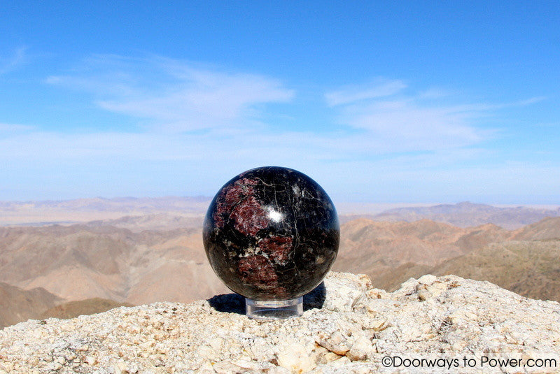 Red Ruby & Black Tourmaline Crystal Sphere 3.8""