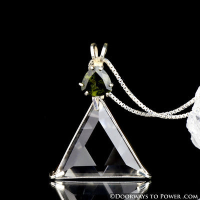 Clear Quartz & Moldavite Star of David Vogel Crystal Pendant