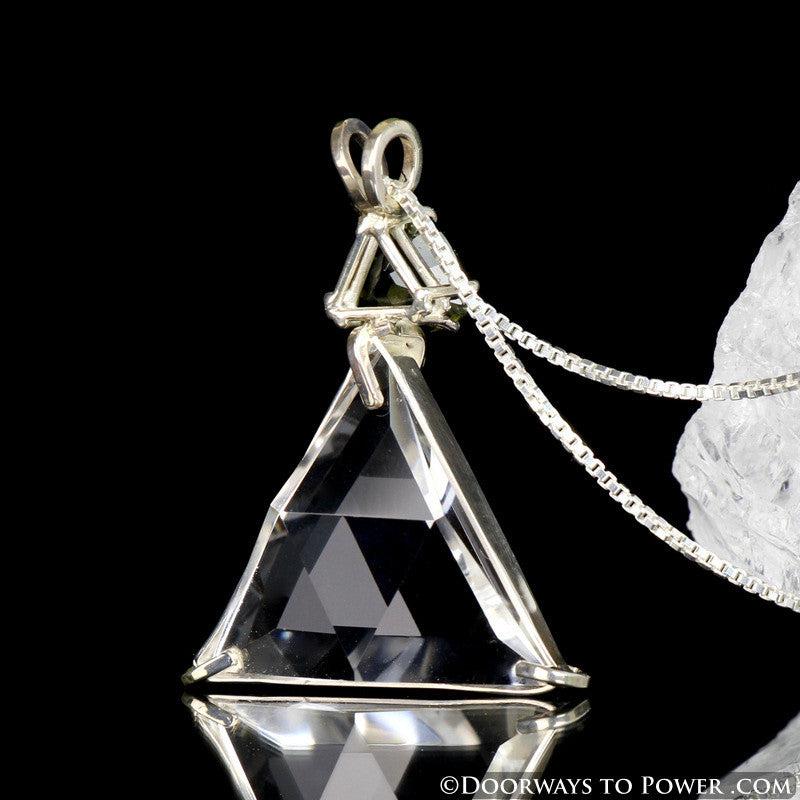 Clear Quartz & Moldavite Star of David Triangle Pendant