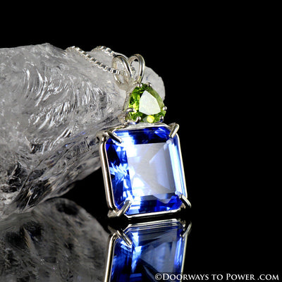 Siberian Blue Quartz & Andara Crystal Earth Heart Pendant