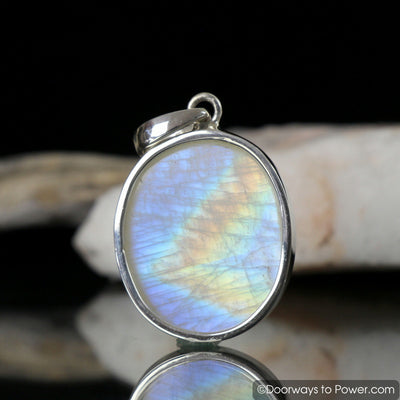 Rainbow Moonstone Pendant .925 Sterling Silver #1