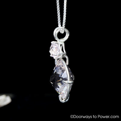 Danburite Quartz Radiant Heart Pendant w/ Morganite SS