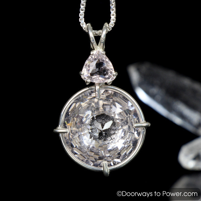 Danburite Radiant Heart Pendant w/ Morganite .925 SS
