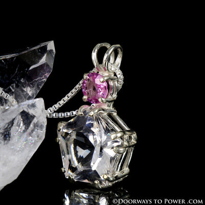 Danburite & Pink Sapphire Star of Venus Pendant - Signature Collection