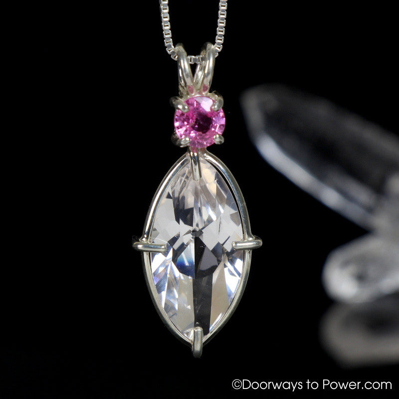 Danburite Infinite Eye Pendant w/ Pink Sapphire Signature Collection