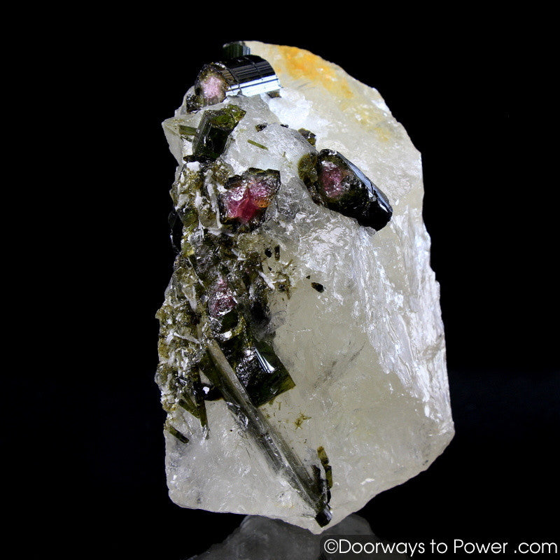 Green & Pink Tourmaline in Quartz Crystal Specimen A +++