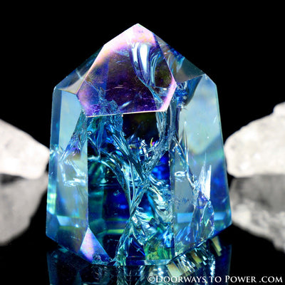 Aqua Aura Quartz Temple Heart Dow Crystal Point