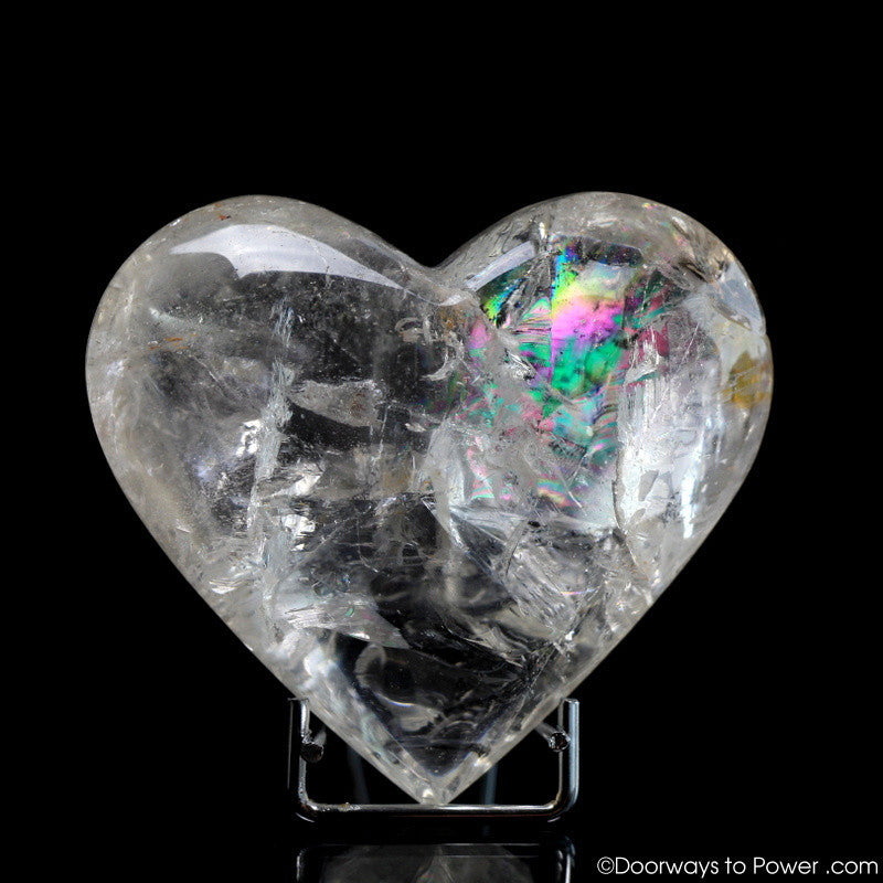 Lemurian Seed Devic Temple Crystal Heart w/ Rainbows (Very Rare)