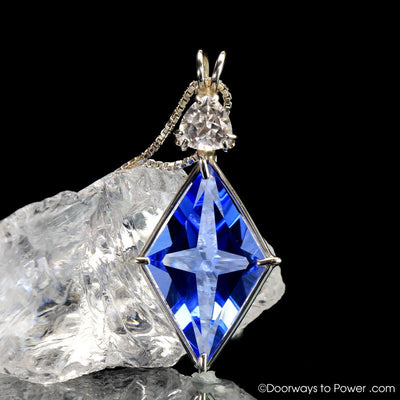 Siberian Blue Quartz & Danburite Ascension Star Crystal Pendant