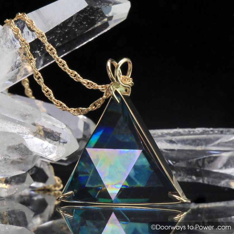 Aqua Aura Star of David Triangle Pendant 14k Gold