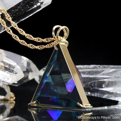 Aqua Aura Star of David Vogel Crystal Triangle Pendant 14k Gold