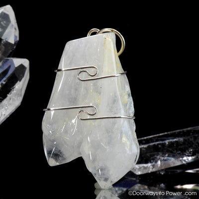 Rare Sauralite Twin Azeztulite Crystal Pendant Azozeo Activated .925 SS